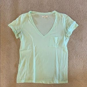 Madewell light green V neck pocket T